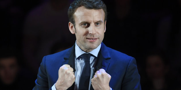 Emmanuel Macron, candidate in France's 2017 French presidential election, delivers an address for French nationals in London